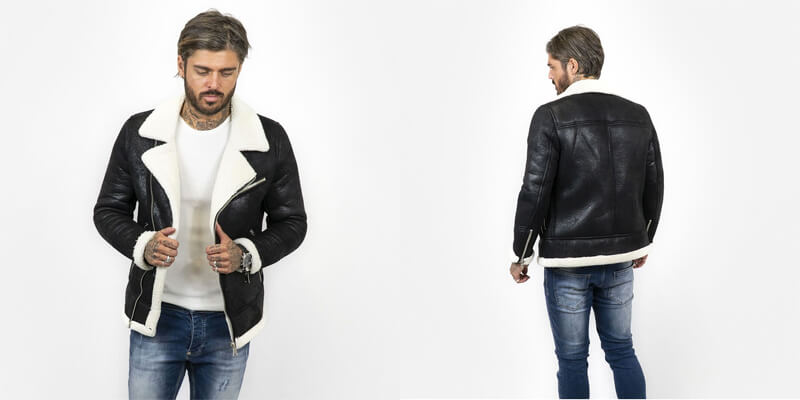 Black Borg Collar Leather Jacket