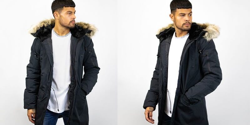 Black Fur Lined Hood Slim Fit Coat