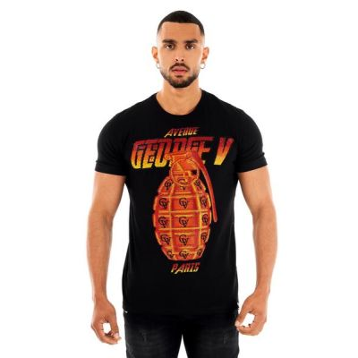 Black and Red Grenade Print T-Shirt