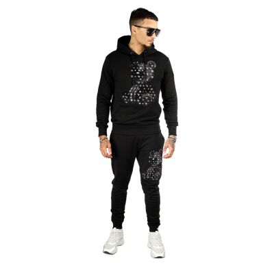 Black Two Piece Teddy Bear Patterned Tracksuit