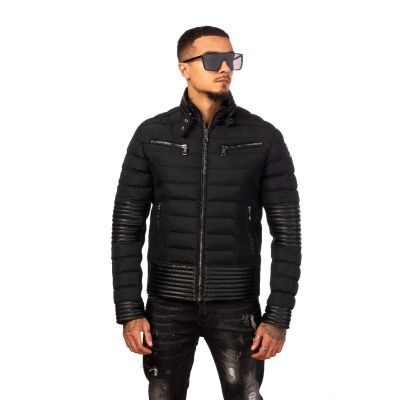 Black Quilted Ribbed Coat With Zip Detailing