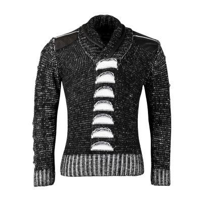 Black Patterned Faux Leather Knitwear With Zip Detailing