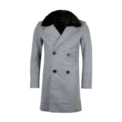 Grey Overcoat With Detachable Faux Fur Collar