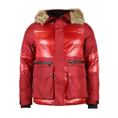 Red Contrast Quilted Coat With Faux Fur Hood