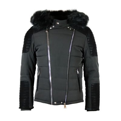Black Zip And Faux Leather Detailed Coat With Faux Fur Hood