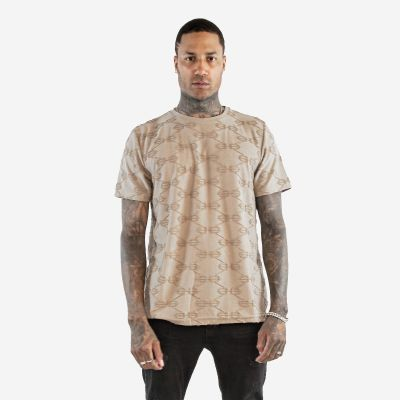 Camel Embroidered Pattern T-Shirt