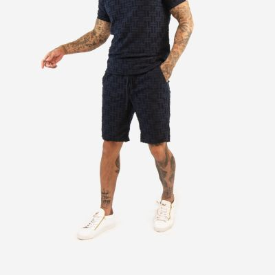 Navy Embroidered Maze Pattern Shorts