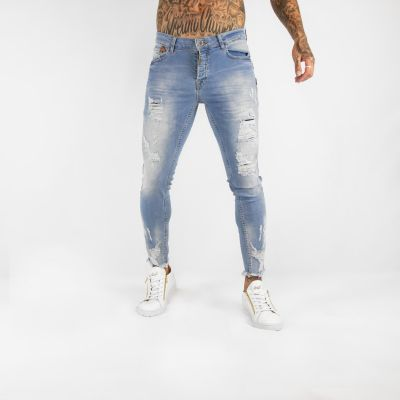 Light Blue Distressed Fray Ankle Skinny Fit