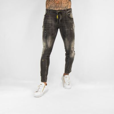 Dark Grey Faded Jeans With Yellow Paint Splat