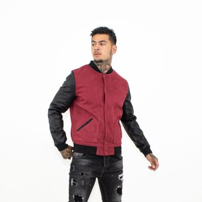Red With Black Sleeves Baseball Jacket