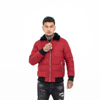 Red Fur Collar Quilted Jacket
