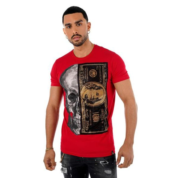 Red and Gold Skull and Dollar Print T-Shirt