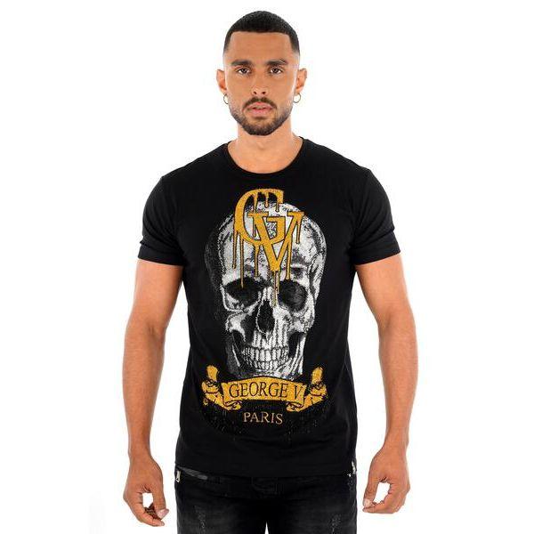 Black Skull Drip Print T-Shirt