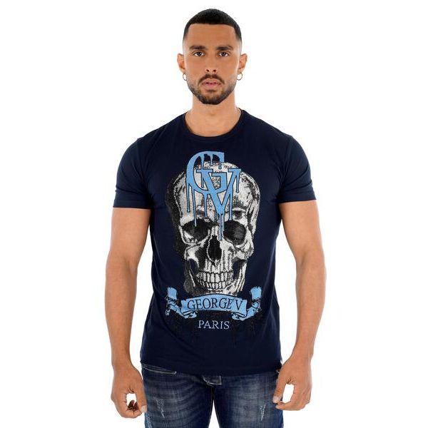 Navy Skull Drip Print T-Shirt
