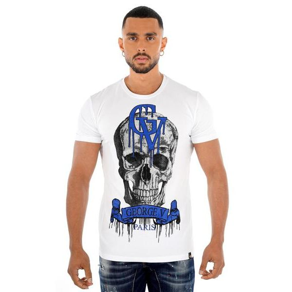 White Skull Drip Print T-Shirt