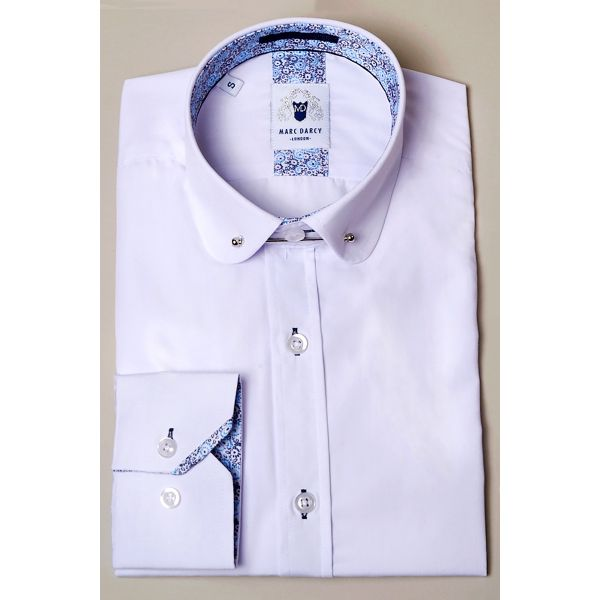 Marc Darcy Benson White Penny Collar Shirt with Collar Bar