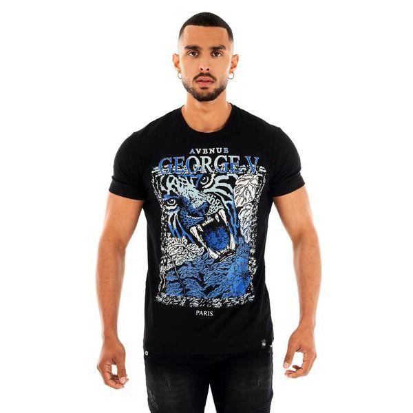 Black and Blue Tiger Print T-Shirt