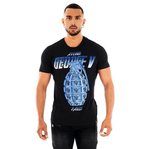 Black and Blue GV Grenade Print T-Shirt