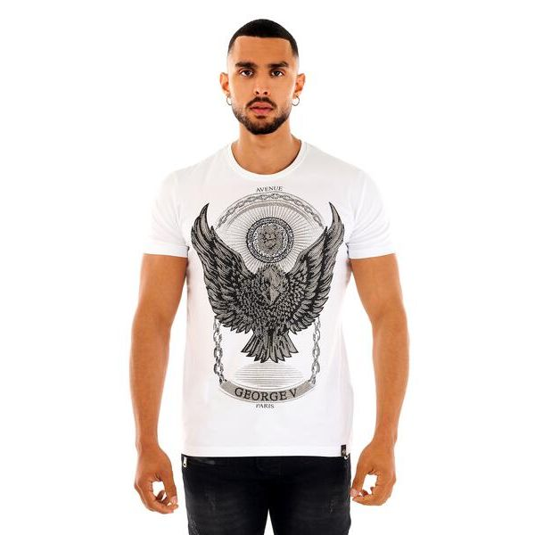 White and Silver Eagle Print T-Shirt