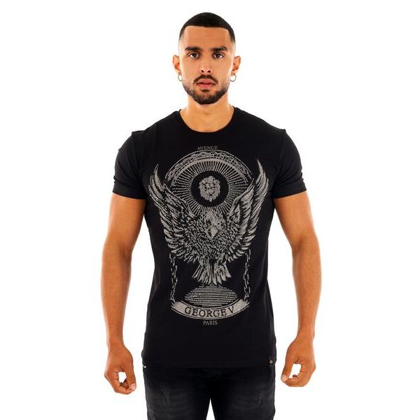 Black and Silver Eagle Print T-Shirt