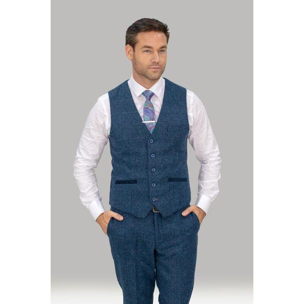 Cavani Carnegi Navy Tweed Waistcoat