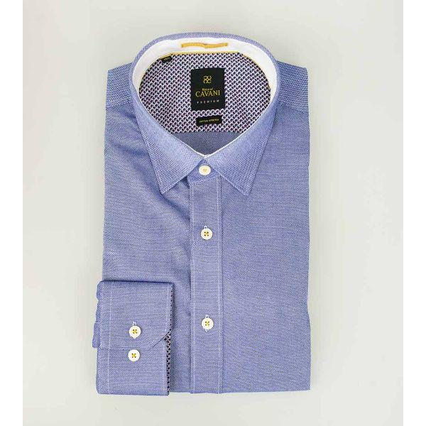 Cavani Oxford 65 Mid Blue Stretch Shirt