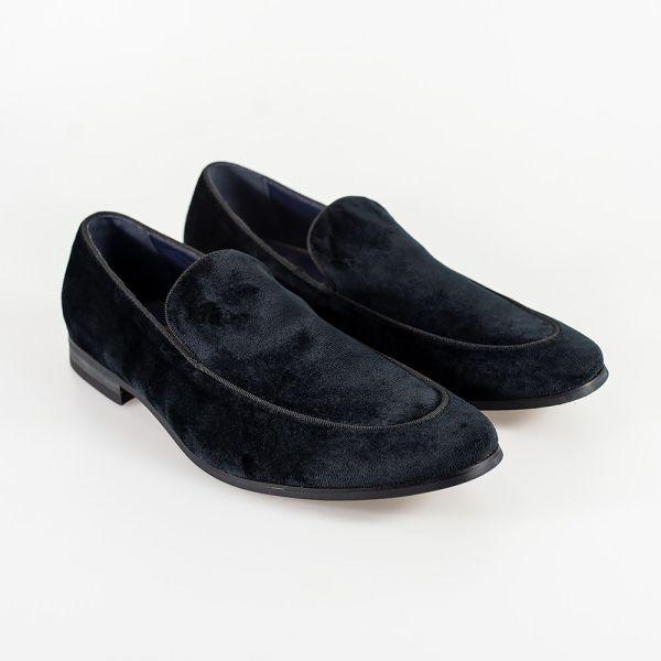 Cavani Milan Black Velvet Loafers