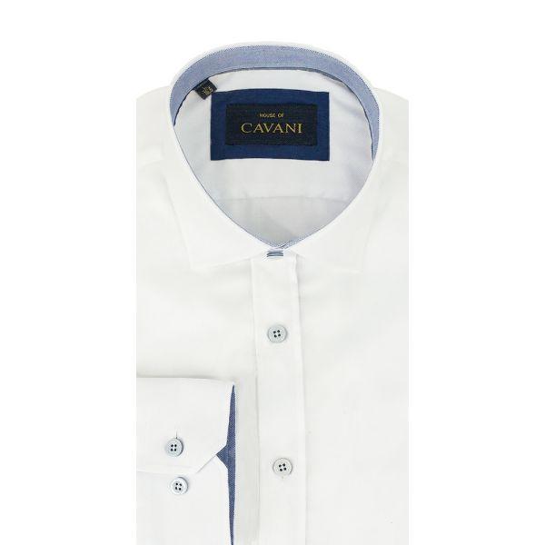 Cavani No.635 White Round Neck Shirt