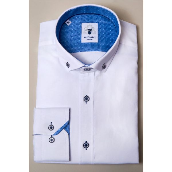 Marc Darcy Charlie White Button Down Shirt with Blue Buttons