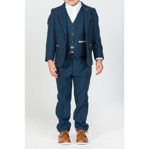 Marc Darcy Boys Dion Blue Tweed Suit