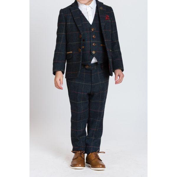 Marc Darcy Boys Eton Navy Tweed Check Suit