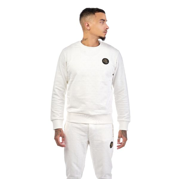 White Printed Suede Design Jumper