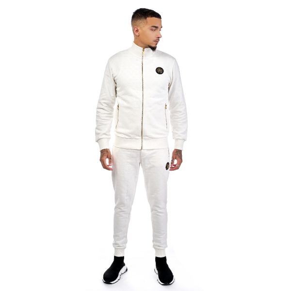 White Printed Suede Design Track Top