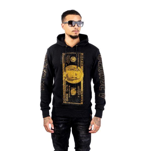 Black And Gold Dollar Bill Diamonte Print Hoodie