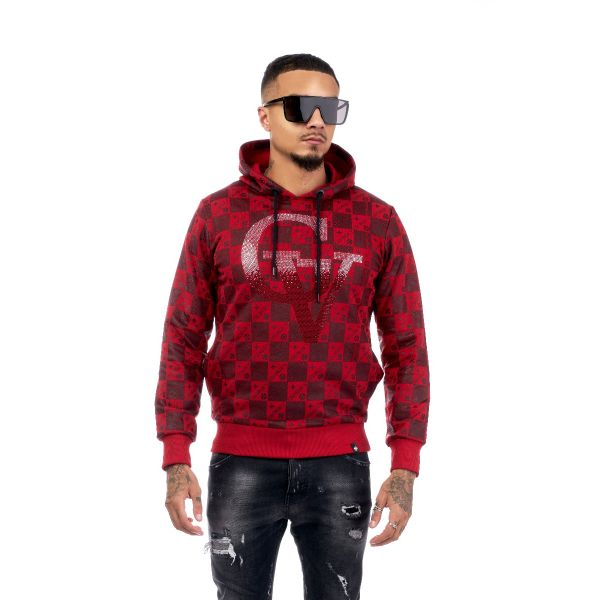 Red Checkered Diamonte Hoodie