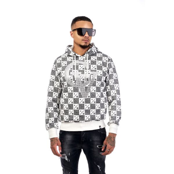 White Checkered Diamonte Hoodie