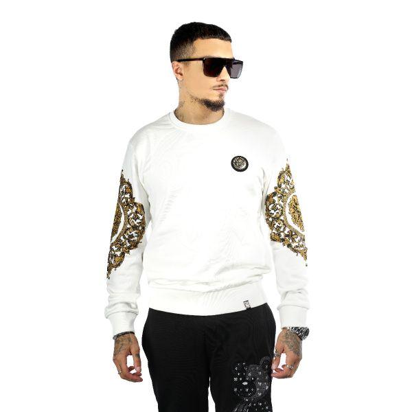 White Sweatshirt With Gold Diamonte Detailing Sleeves