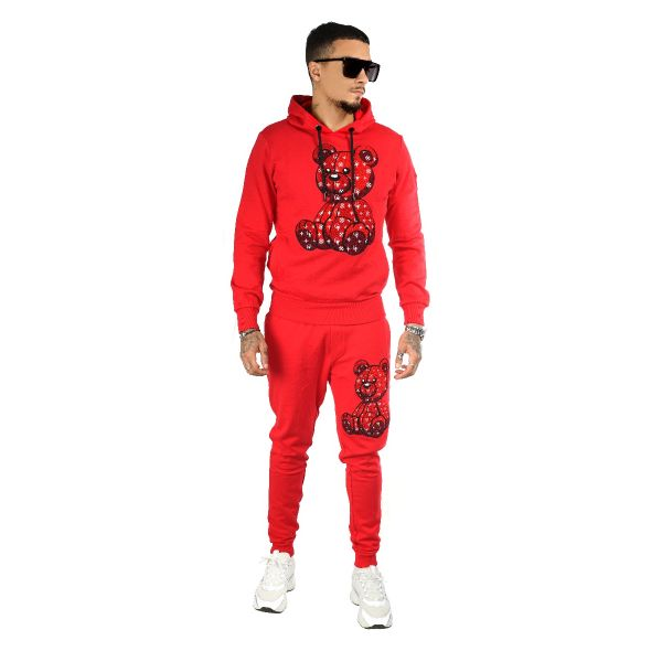 Red Two Piece Teddy Bear Patterned Tracksuit