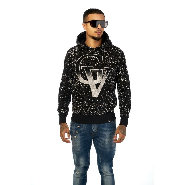 Black And White Paint Splat Effect With Diamonte Print Hoodie