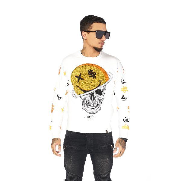 White Diamonte Skull Dollar Sign Print Sweatshirt