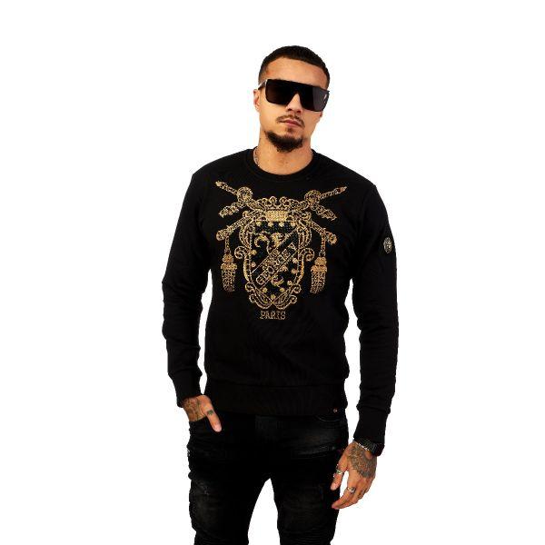 Black Shield And Sword Diamonte Print Sweatshirt