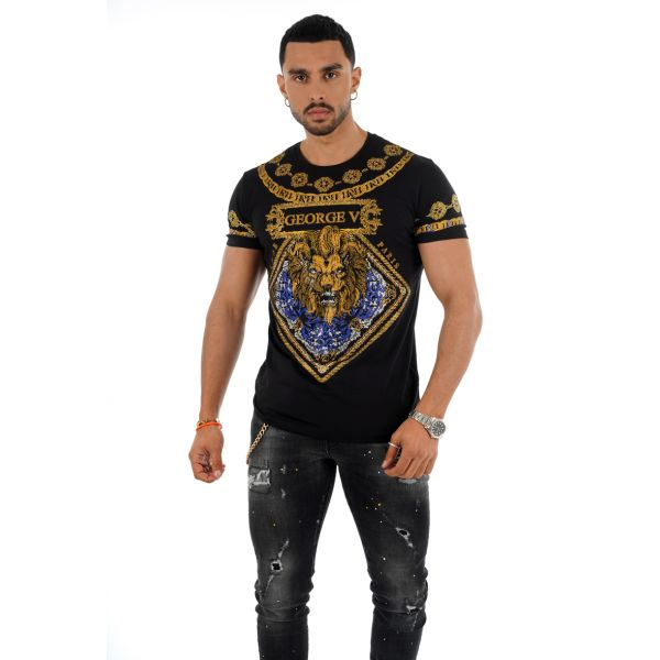 Black Lion Chain Print T-Shirt