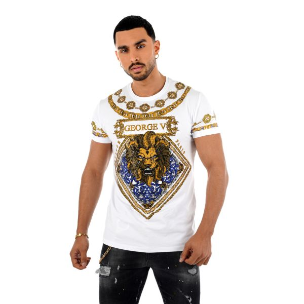 White Lion Chain Print T-Shirt