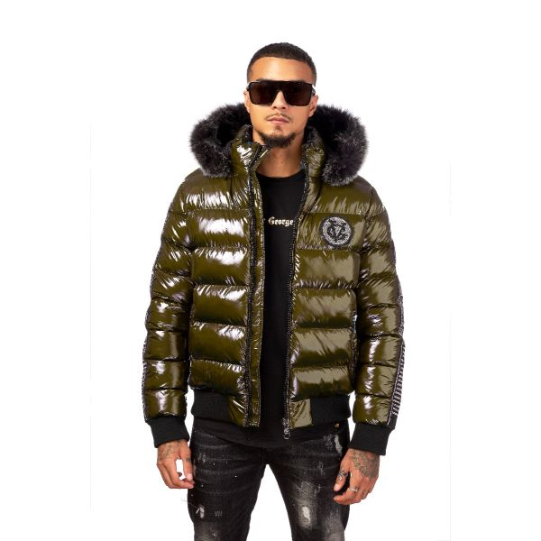 Khaki Quilted And Ribbed Coat With Fur Hood