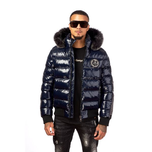 Navy Quilted And Ribbed Coat With Fur Hood
