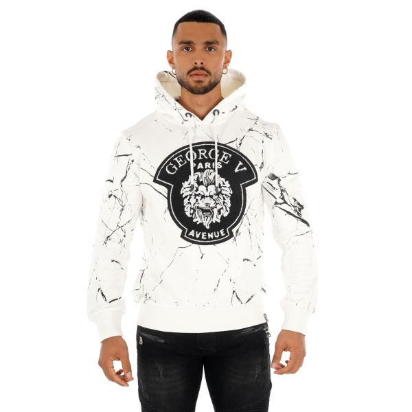 White Embroidered Printed Hoodie