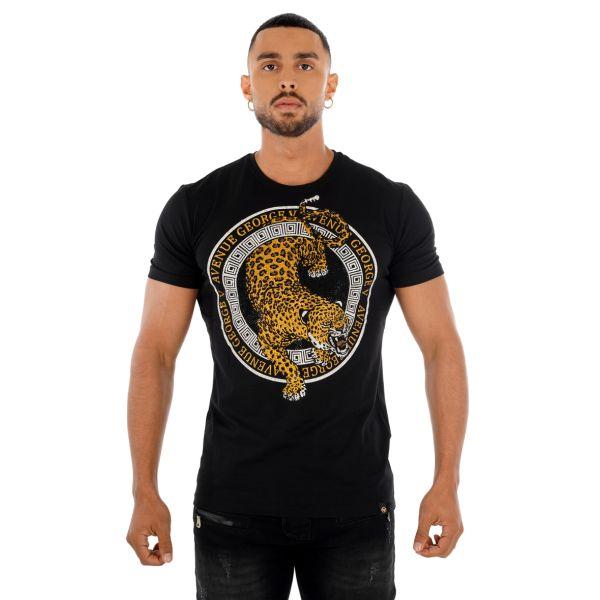 Black and Gold Leopard Print T-Shirt
