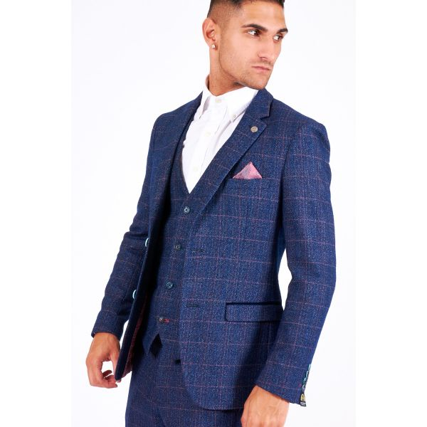Marc Darcy Harry Indigo Tweed Blazer