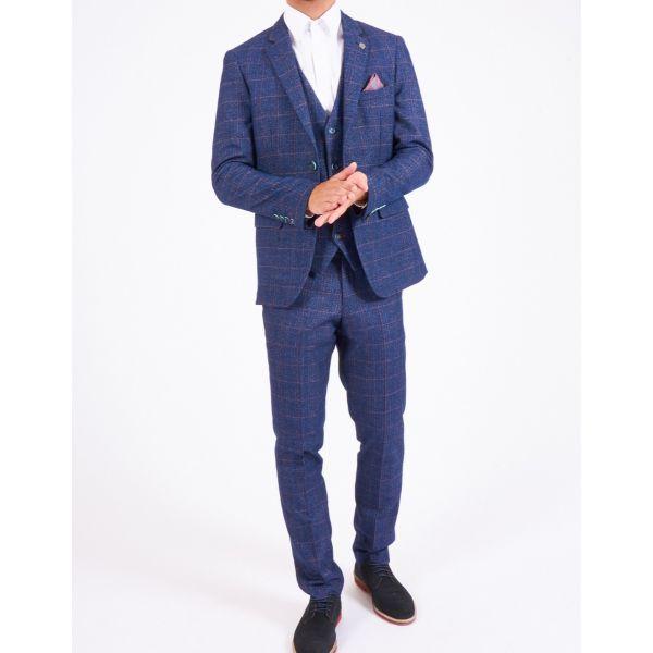 Marc Darcy Harry Indigo Tweed Check Suit