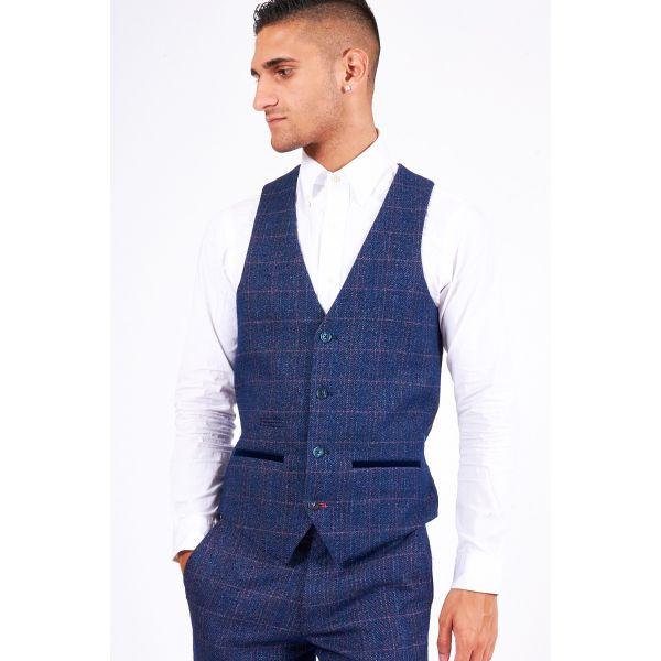 Marc Darcy Harry Indigo Tweed Waistcoat